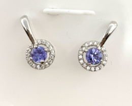 Natural Beautiful Tanzanite  earrings With A 925 Starling Silver.