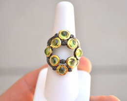 Gorgeous Peridot Cabochon in Sterling Silver Ring