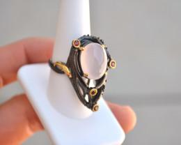 Rose Quartz and Garnet in Sterling Silver Ring