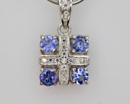 Natural Tanzanite, CZ and 925 Silver pendent