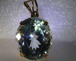 Aquamarine 29.00ct Solid 22K Yellow Gold Pendant