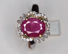 Top Ruby Ring with Small CZ