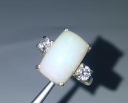 5.15 carat Natural Pure white Opal Ring with CZ.