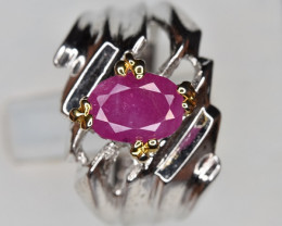 Unheated Ruby Ring in Silver 925