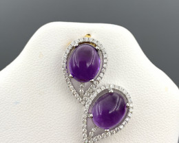 Natural Beautiful Amethyst and CZ Pendant With A 925 Starling Silver.