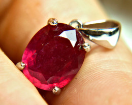 43.85 Tcw. Fiery African Ruby, Sterling Pendant + Chain - Gorgeous