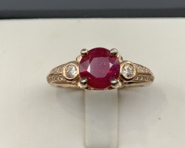Natural  RUBY Grass field Ring In Rose gold  A 925 Starling Silver.