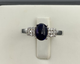 Natural Tourmaline  ring with White CZ in  Silver 925.