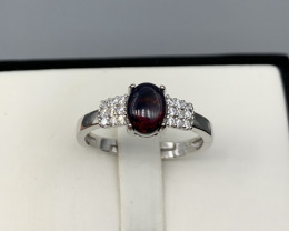 Natural Red Fire Opal ring with White CZ in  Silver 925.