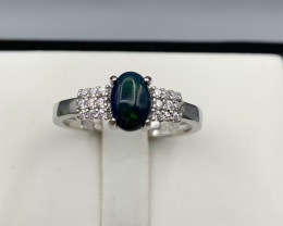 Natural Green Fire Opal ring with White CZ in  Silver 925.