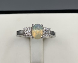 Natural White Fire Opal ring with White CZ in  Silver 925.