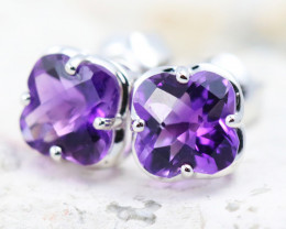 14 K White Gold Amethyst Earrings - G1