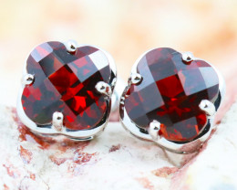 14 K White Gold Garnet Earrings - G3