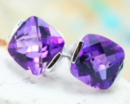 14 K White Gold Amethyst Earrings E2420 - G5