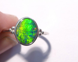 Vivid Green Australian Opal and Sterling Silver Ring  Size N or 6.5
