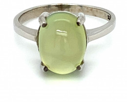 Prehnite 6.10ct Platinum Finish Solid 925 Sterling Silver Ring