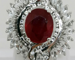 Natural Ruby and Topaz Ring 8.00 TCW