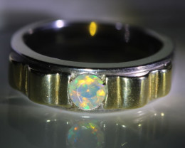 Welo Opal .41ct Golden Rhodium Finish Solid 925 Sterling Silver Ring