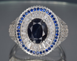 Natural Blue Sapphire, CZ and 925 Silver Ring [Man]