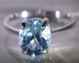 Blue Topaz 5.20ct Platinum Finish Solid 925 Sterling Silver Ring