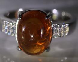 Spessartine Garnet 9.20ct Platinum Finish Solid 925 Sterling Silver Ring