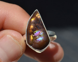 Fire Agate Ring in Sterling Silver -- Size 7.5