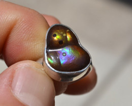 Fire Agate Ring in Sterling Silver -- Size 8.25