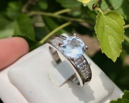 Natural beautiful Aquamarine and Zircon Ring
