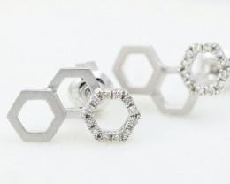 18K White Gold Diamond Earrings - H81 - E11264