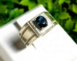 Sapphire bi color heated 18k Silver Ring