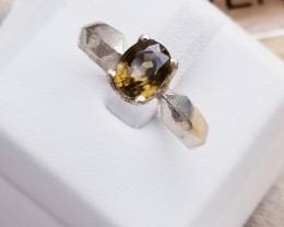 Natural Golden color Zircon in 18k Silver Ring for Men.