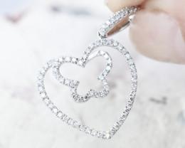 18K White Gold Diamond Pendant - H95 - P9585