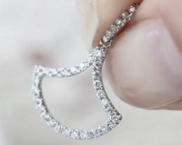 18K White Gold Diamond Pendant - H97 - P10635