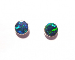 Beautiful Australian Gem Opal and Sterling Silver Earrings (z3205)