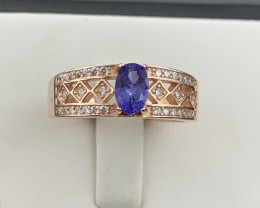 Natural Tanzanite ring with White CZ in Rose Gold Silver 925.