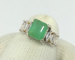 Natural Green Emerald From Laghman 16.20 Carats 925 Silver Ring