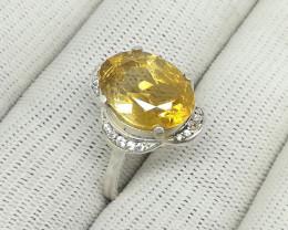 Natural Yellow Citrine 20.70 Carats 925 Silver Ring