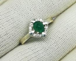 Natural Green Emerald Cabochon 11.70 Carats 925 Silver Ring