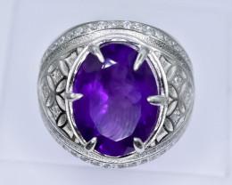 50.59 Crt Natural Amethyst 925 Silver Ring