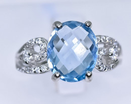 20.31 Crt Natural Topaz 925 Silver Ring