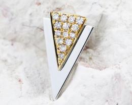 18K White & Yellow Gold Diamond Pendant - H105 - P11587