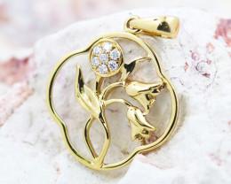 18K Yellow Gold Diamond Pendant - H123 - P11874