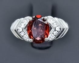 14.87 Crt Natural Garnet 925 Sterling Silver Ring