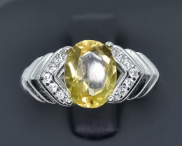 15.58 Crt Natural Citrine 925 Sterling Silver Ring