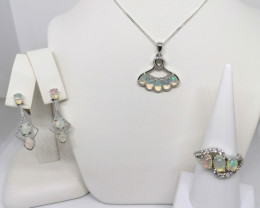 Natural Opal Set of Ring, Earrings and Necklace 5.25 TCW
