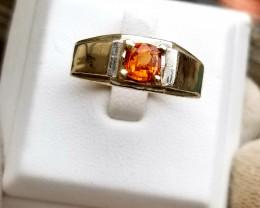 Natural Spessartine Garnet 18k SIlver Ring