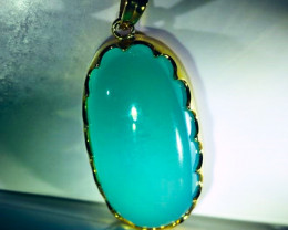 Green Cats Eye Calcite 42.75ct Solid 18K Yellow Gold Pendant