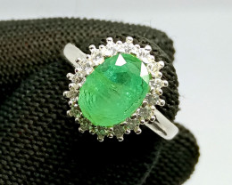 Natural Green Emerald 925 Sterling Silver Ring