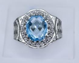 53.47 Crt Natural Topaz 925 Silver Ring
