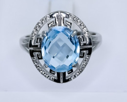 23.56 Crt Natural Topaz 925 Silver Ring